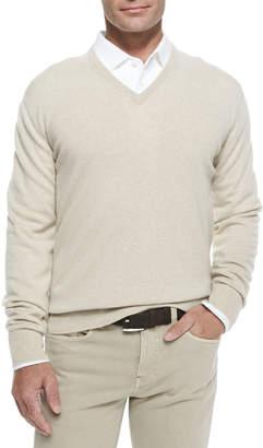 Loro Piana Baby Cashmere V-Neck Sweater, Natural