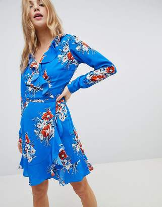Asos DESIGN Ruffle Wrap Mini Dress in Blue Floral Print