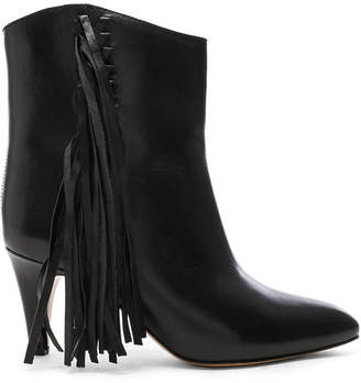 Isabel Marant Leather Dringe Boots in Black | FWRD