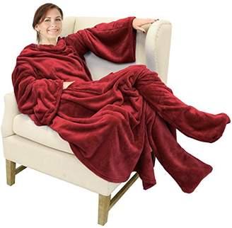 Catalonia Wearable Fleece Blanket with Sleeves & Foot Pockets for Adult Women Men