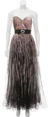 Terani Couture Strapless Sequence Dress w/ Tags
