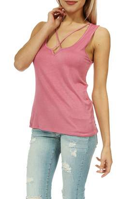Teeze Me Juniors Sleeveless V Neck Crisscross Front Casual Tank Top