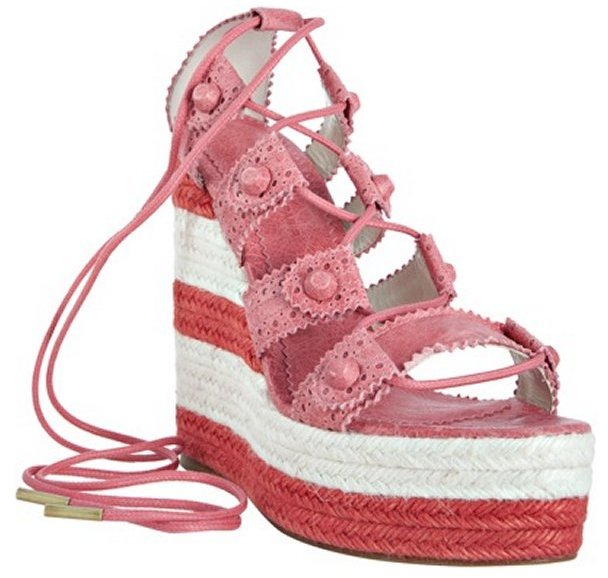Balenciaga grenadine leather lace-up espadrille wedges