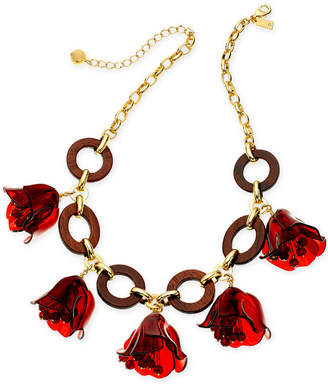 "Kate Spade Gold-Tone & Wood Flower Statement Necklace, 18"" + 3"" extender"