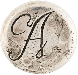 Ann Demeulemeester Blanche initial engraved pin badge