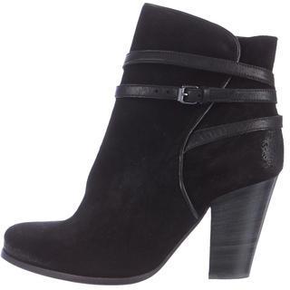 AllSaints Round-Toe Suede Ankle Boots $145 thestylecure.com