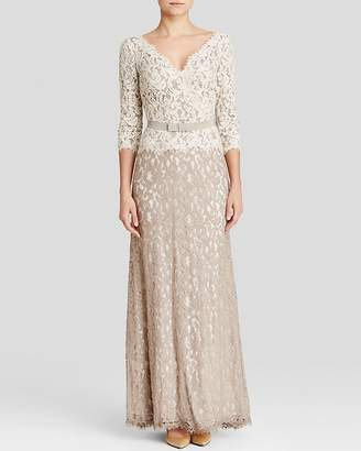 Tadashi Shoji Petites Color Blocked Lace Gown $388 thestylecure.com