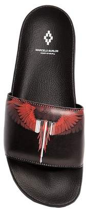 Marcelo Burlon County of Milan Wings Barcode Printed Slide Sandals