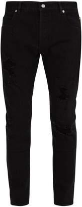 Balmain Distressed mid-rise straight-leg jeans