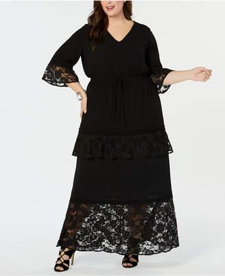 NY Collection Plus Size Lace-Trim Maxi Dress