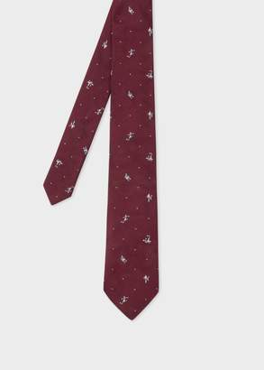 Men's Burgundy 'Footballer' Motif Narrow Silk Tie