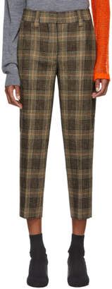 Acne Studios Brown and Beige Plaid Trousers