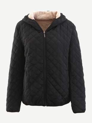 Shein Shearling Lined Quilted Puffer Hooded Coat