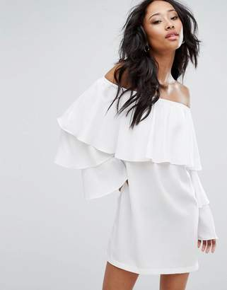 PrettyLittleThing Bardot Layered Frill Shift Dress $46 thestylecure.com