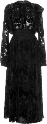 Rochas Ruffled Flocked Velvet Midi Dress