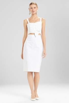 Josie Natori Cotton Poplin Pencil Skirt