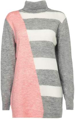 Wallis Pink Striped Polo Neck Jumper