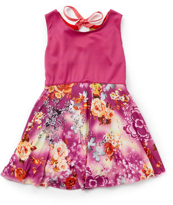 Red & Purple Reversible Twirly A-Line Dress - Infant, Toddler & Girls