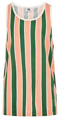 Topman Mens Green Striped Tank