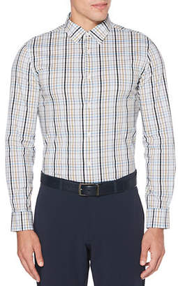 Perry Ellis Plaid Total Stretch Long Sleeve Button Down Shirt