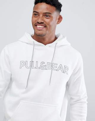 Pull&Bear hoodie in white with logo
