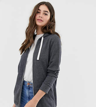 Asos Tall DESIGN Tall zip through hoodie in charcoal