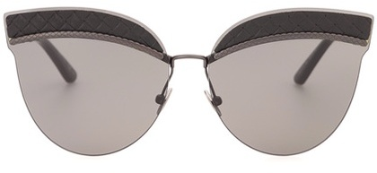 Bottega Veneta Bottega Veneta Leather-trimmed sunglasses