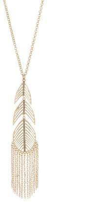 Jessica Simpson Tassel Feather Pendant Necklace