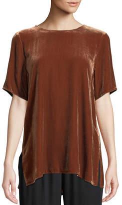 Eileen Fisher Short-Sleeve Velvet Box Top, Petite