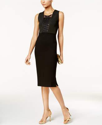 Love Scarlett Petite Corset-Laced Metallic Bodycon Dress, Created for Macy's