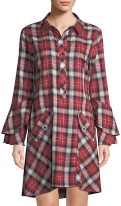 Laundry by Shelli Segal Plaid Bell-Sleeve Shift Dress