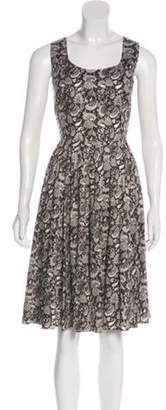 Dolce & Gabbana Printed Knee-Length Dress w/ Tags Black Printed Knee-Length Dress w/ Tags