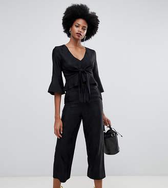 Miss Selfridge wide leg cropped culottes in black jacquard