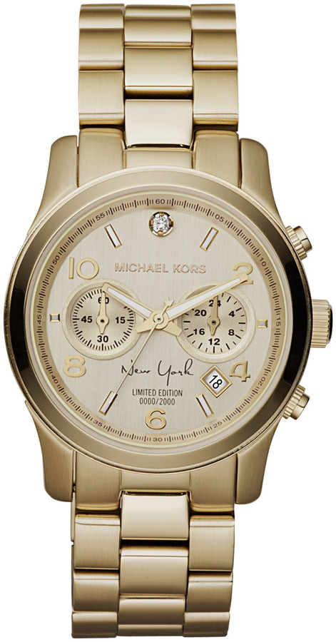 Michael Kors Mid-Size NY Limited Edition Golden Stainless Steel Runway Chronograph Glitz Watch