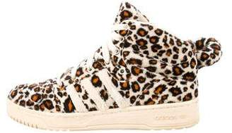 Jeremy Scott x Adidas Shearling Animal Print Sneakers