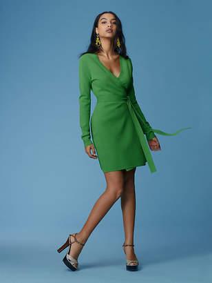 Diane von Furstenberg Long-Sleeve V-neck Knit Wrap Dress