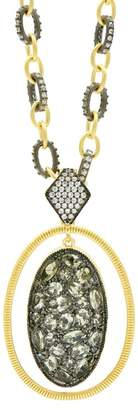 Freida Rothman Rose d'Or 14K Yellow Gold & Black Rhodium Plated Pave CZ Orbit Pendant Necklace