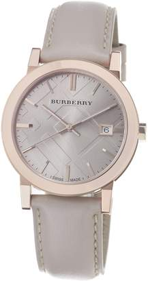 Burberry Men's BU9014 Large Check Tan Leather Strap Beige Dial Watch
