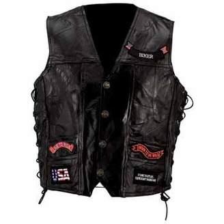 Buffalo David Bitton Bnf Diamond Plate Rock Design Genuine Leather Vest