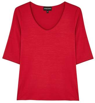 Emporio Armani Red Stretch-jersey Top