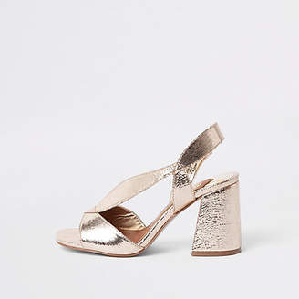 River Island Gold wide fit asymmetric flare heel sandals