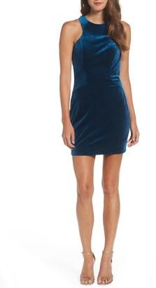 Women's La Femme High Neck Velvet Body-Con Dress $298 thestylecure.com