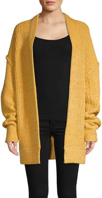 Free People Open-Front Cotton Blend Cardigan