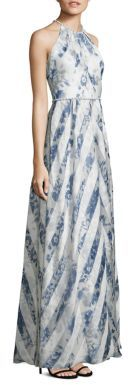 Carmen Marc Valvo Striped Organza Halter Gown $1,295 thestylecure.com