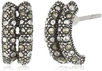 Sterling Double Hoop Marcasite Drop Earrings