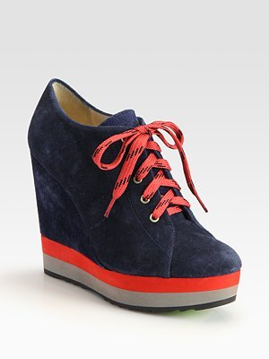 Sporty Suede Colorblock Wedge Ankle Boots