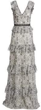 ML Monique Lhuillier Women's Tiered Floral-Jacquard A-Line Gown - White Jet Combo - Size 0