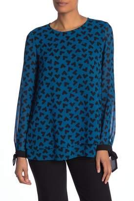 Anne Klein Long Sleeve Print Blouse