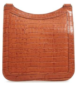 Creatures of Comfort Tall Equestrian Croc Embossed Leather Crossbody Bag