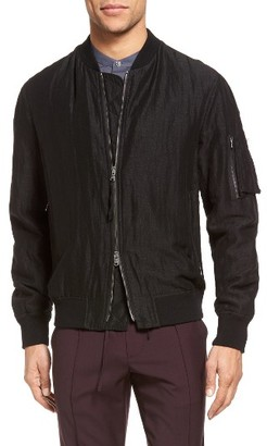 Men's Vince Linen & Silk Bomber Jacket $495 thestylecure.com